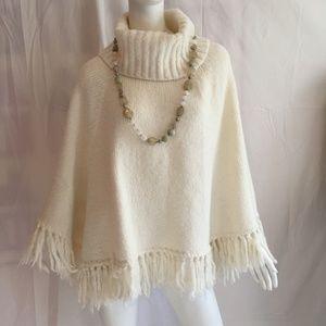 Loft XS/S merino wool blend cowl neck poncho